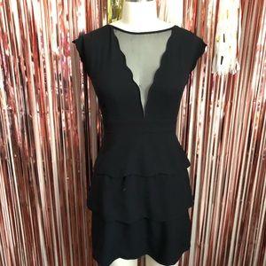 Black Scallop Mesh Dress